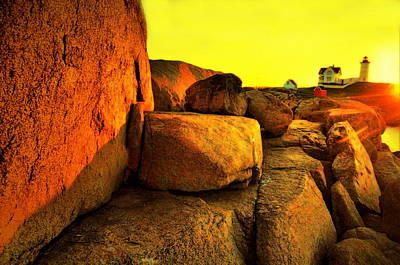 Nubble Lighthouse Photograph - Nubble Yellow by Emily Stauring