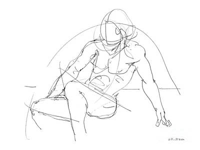 Male Nude Drawing Drawing - Nude-male-drawings-13 by Gordon Punt