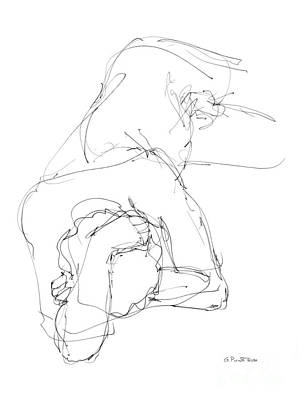 Male Nude Drawing Drawing - Nude Male Drawings 7 by Gordon Punt
