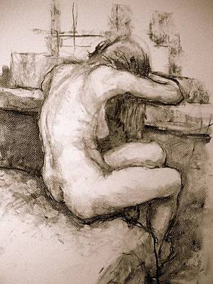 Depression Drawing - Nude On The Window by Alfons Niex