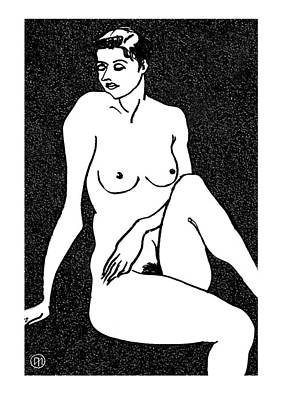 White Drawing - Nude Sketch 18 by Leonid Petrushin