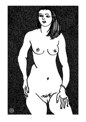 Model Drawing - Nude Sketch 20 by Leonid Petrushin