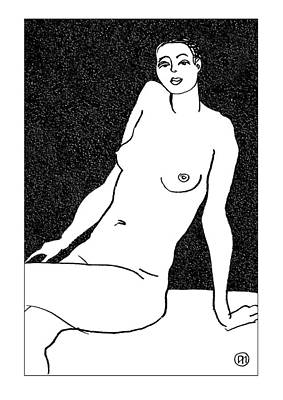 Lady Drawing - Nude Sketch 30 by Leonid Petrushin