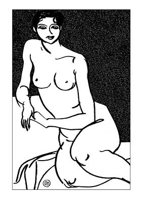 Nude Sketch 35 Print by Leonid Petrushin