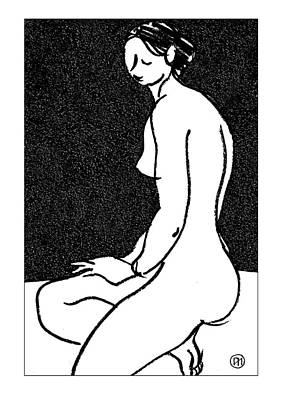 Figurative Drawing - Nude Sketch 45 by Leonid Petrushin