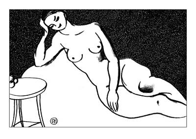 Girl Drawing - Nude Sketch 71 by Leonid Petrushin
