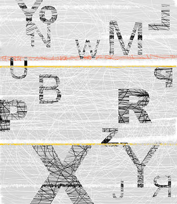 Word Painting - Numbers Grey by Naxart Studio