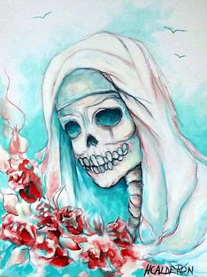 Cemetary Painting - Nun With Flowers by Heather Calderon