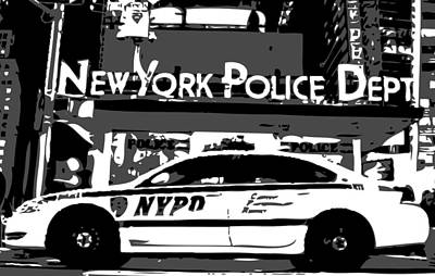 Police Cars Digital Art - Nypd Bw3 by Scott Kelley
