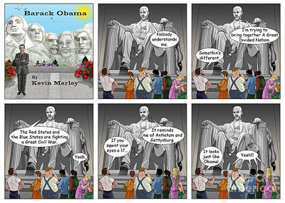 Obama As Lincoln Print by Kevin  Marley