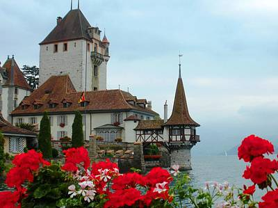 Oberhofen Castle With Flowers Print by Marilyn Dunlap