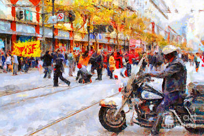 Occupy Sf Market Street . 7d9738 Print by Wingsdomain Art and Photography