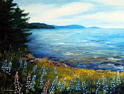 Ocean Coast Lupine Flowers Original by Laura Tasheiko