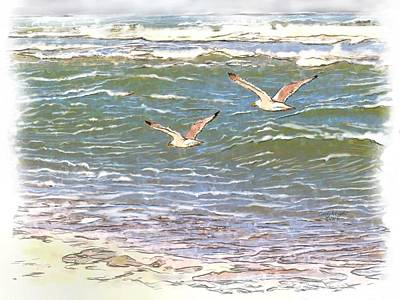 Flying Seagull Mixed Media - Ocean Seagulls by Cindy Wright