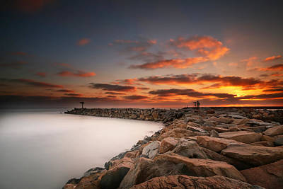 Long Exposure Photograph - Oceanside Harbor Jetty Sunset 3 by Larry Marshall
