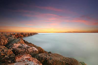 California Ocean Photograph - Oceanside Harbor Jetty Sunset by Larry Marshall