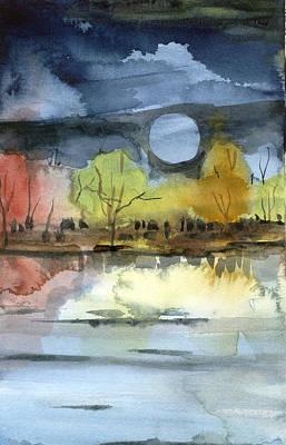Fantasy Tree Mixed Media - October Moon by Mindy Newman