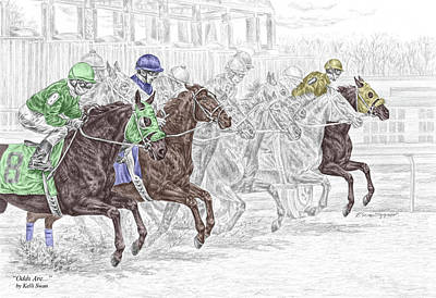 Jockey Drawing - Odds Are - Tb Horse Racing Print Color Tinted by Kelli Swan