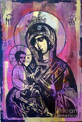 Greek Icon Painting - Odigitria by Martina Anagnostou