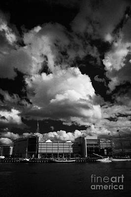 odyssey building and river lagan during the tall ships visit to Belfast in 2009 during Belfast  Print by Joe Fox