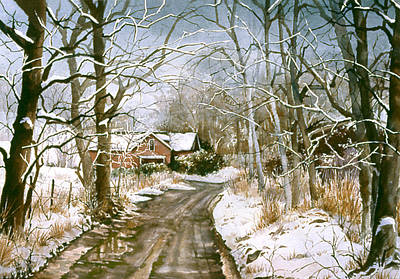 Snowscape Painting - Off The Beaten Track by Beth Kantor
