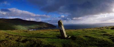 Ogham Stone At Dunmore Head, Dingle Print by The Irish Image Collection