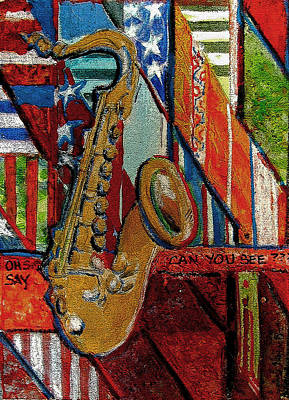 Usa Flag Mixed Media - Oh Say Can You See by Mindy Newman