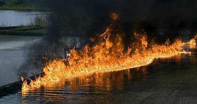 Oil Fire Print by Paul Rapson