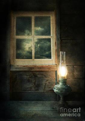 Oil Lamp On Table By Window Print by Jill Battaglia