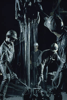 Oilmen Covered In Mud Pull Up A Drill Print by David Boyer