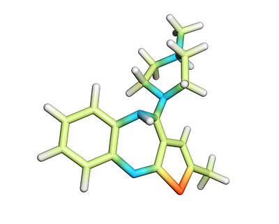 Olanzapine Antipsychotic Drug Molecule Print by Dr Tim Evans