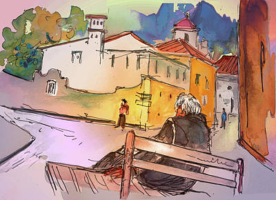 Travel Sketch Drawing - Old And Lonely In Portugal 07 by Miki De Goodaboom