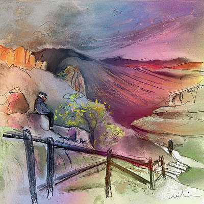 Travel Sketch Drawing - Old And Lonely In Spain 04 by Miki De Goodaboom