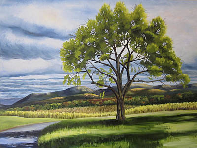 Turbulent Skies Painting - Old Apple Tree by Linda L Doucette