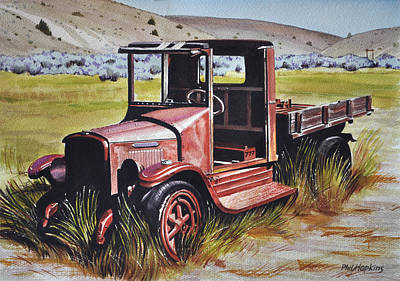 Phil Hopkins Painting - Old Bannack Truck by Phil Hopkins