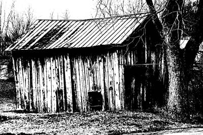 Old Barn In Black And White Print by Ronald T Williams