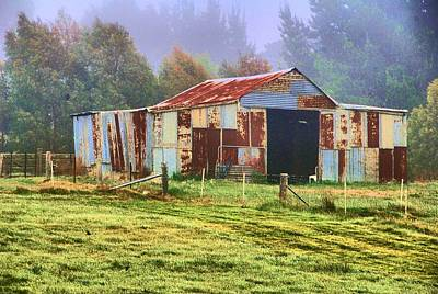 Old Barn In The Mist Print by Fran Woods