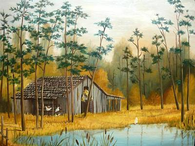 Old Barn With Chickens Print by Vivian Eagleson