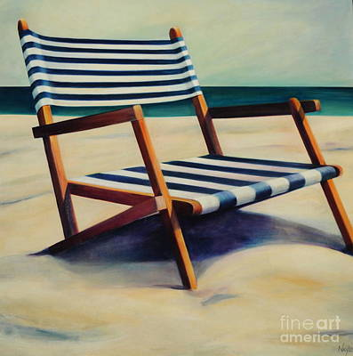 Old Beach Chair Print by Mary Naylor