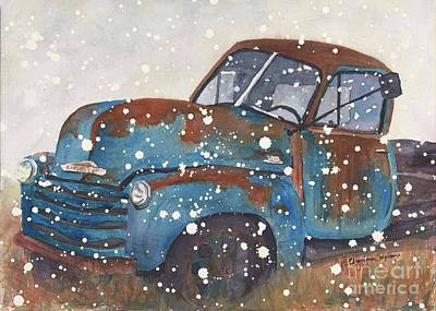 Old Blue Chevy Winter Storm Original by CheyAnne Sexton
