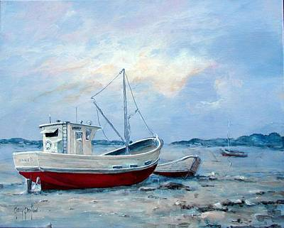 Old Boats On Shore Print by Gary Partin