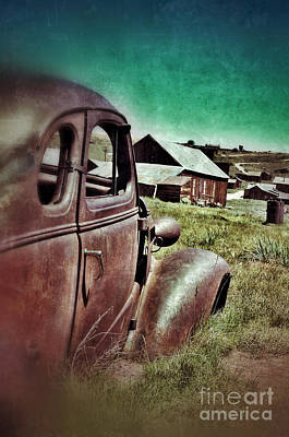 Old Car And Ghost Town Print by Jill Battaglia