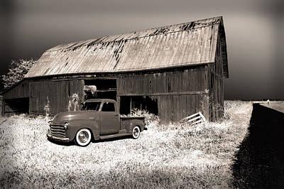 Old Chevy In Barn Lot Print by Randall Branham