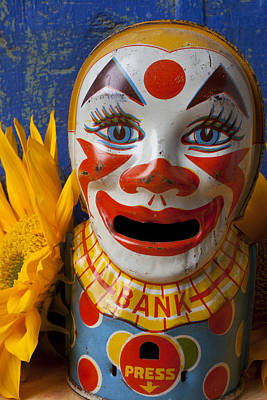 Clown Photograph - Old Clown Bank by Garry Gay