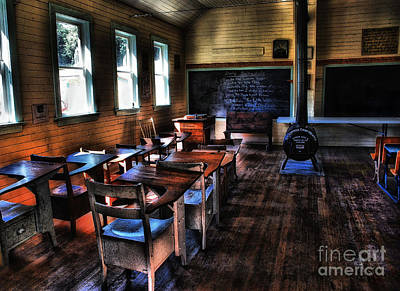 Schoolhouse Mixed Media - Old Days Schoolhouse by Elaine Manley
