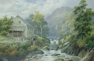 Old Disused Mill Dolgelly Print by William Henry Mander