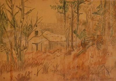 Old Barn Drawing - Old Farm by Carman Turner