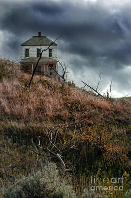 Old Farmhouse With Stormy Sky Print by Jill Battaglia