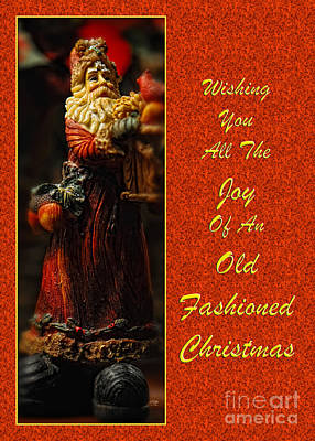 Old Fashioned Santa Christmas Card Print by Lois Bryan