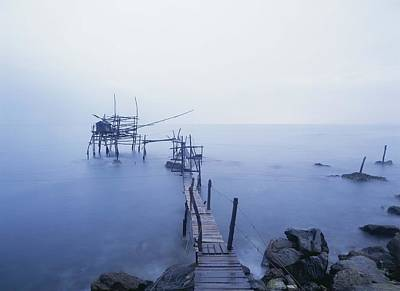 Old Fishing Platform At Dusk Print by Axiom Photographic